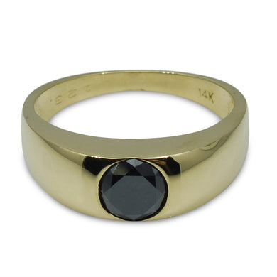1.23 ct. Black Diamond Men's Solitaire/Engagement Ring in 14kt Yellow Gold