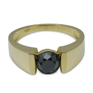 Fine Quality 1.77ct. Black Diamond Unisex Solitaire Ring in 14kt Yellow Gold - Skyjems Wholesale Gemstones