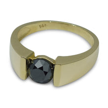 1.77 ct. Black Diamond Men's Solitaire Ring in 14kt Yellow Gold