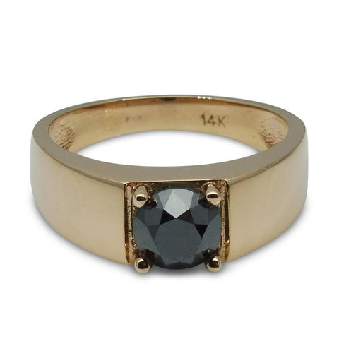 Fine Quality 1.72 ct. Black Diamond Unisex Solitaire Ring in 14kt Rose/Pink Gold