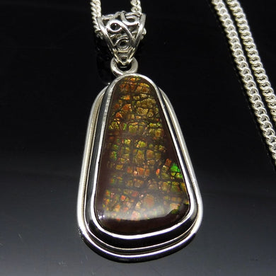 Dragonskin Ammolite Necklace in  0.925 Sterling Silver - Skyjems Wholesale Gemstones