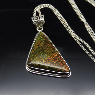 Dragonskin Ammolite Necklace in  0.925 Sterling Silver