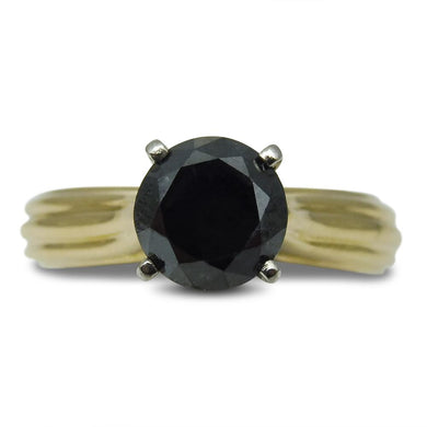 1.62 ct. Black Diamond Ring in 18kt Yellow Gold & Platinum - Skyjems Wholesale Gemstones