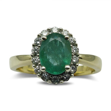 1.11ct Emerald Ring in 10kt Yellow/White Gold GS Laboratories Certified - Skyjems Wholesale Gemstones