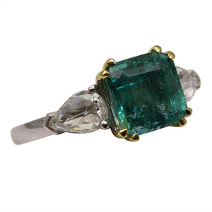 2.36 ct GIA Certified Zambian Emerald Diamond Three Stone Ring