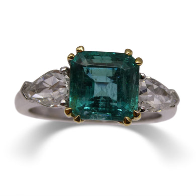 2.36 ct GIA Certified Zambian Emerald Three Stone Ring