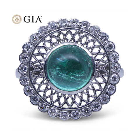 1.91 ct Emerald IGI Certified 18kt Gold Diamond Ring