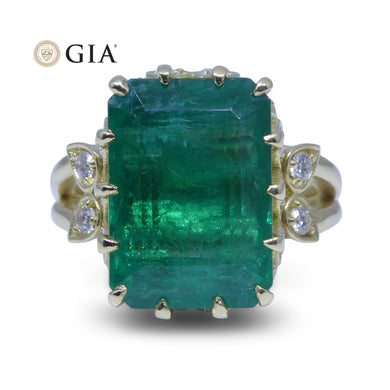 9.54 ct GIA Certified Emerald 18kt Gold Diamond Ring - Skyjems Wholesale Gemstones