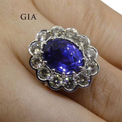 Fine Quality 4.64ct GIA Certified Color Change Sapphire & Diamond Scallop Ring in 18kt White Gold