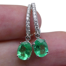 1.88 ct Emerald Diamond Earrings in 18kt White Gold