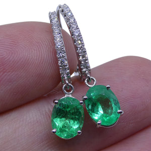 1.88 ct Emerald Diamond Earrings in 18kt White Gold - Skyjems Wholesale Gemstones