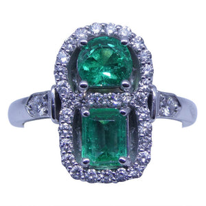 1.05ct Emerald & Diamond Cluster Ring in 18kt White Gold - Skyjems Wholesale Gemstones