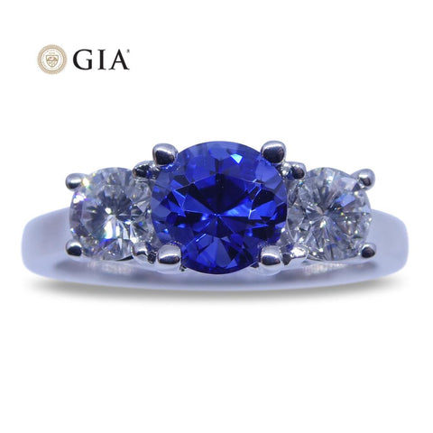 1.20 ct GIA Certified Blue Sapphire Three Stone Diamond Ring in 18kt White Gold
