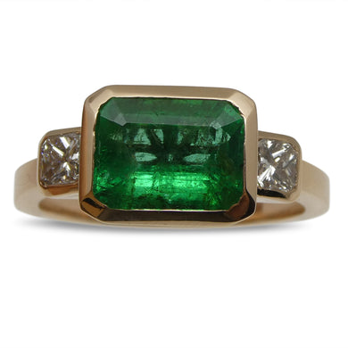 2ct Emerald & Diamond Ring in 14kt Pink/Rose Gold - Skyjems Wholesale Gemstones