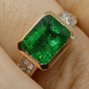 2ct Emerald & Diamond Ring in 14kt Pink/Rose Gold