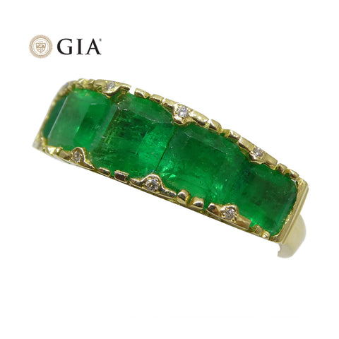 3.32ct Colombian Emerald & Diamond Ring in 18kt Yellow Gold