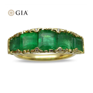 3.32ct Colombian Emerald & Diamond Ring in 18kt Yellow Gold - Skyjems Wholesale Gemstones