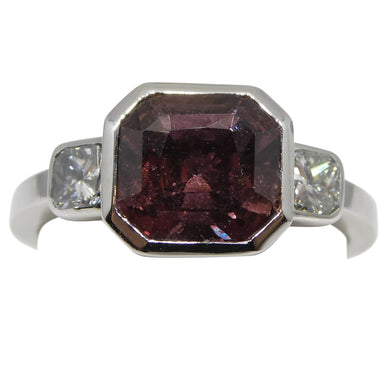 Fine Quality 3.18ct Pink Sapphire & Diamond Ring in 18kt White Gold - Skyjems Wholesale Gemstones