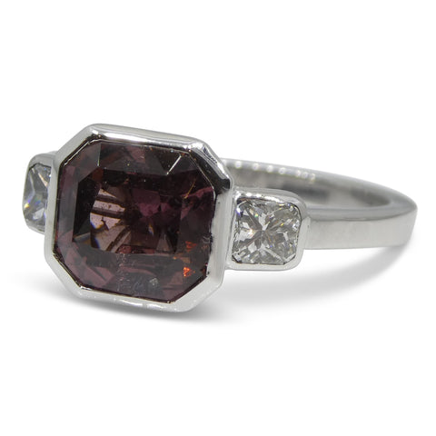Fine Quality 3.18ct Pink Sapphire & Diamond Ring in 18kt White Gold