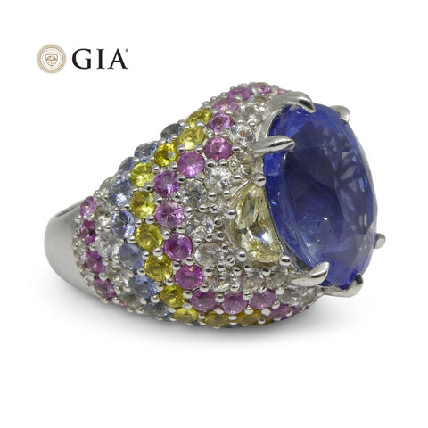 10.03ct Unheated Blue Sapphire Cluster Ring in 18kt White Gold