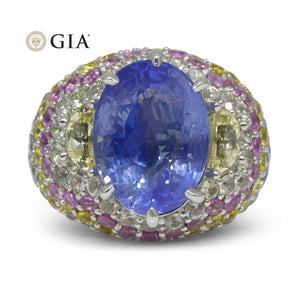 10.03ct Unheated Blue Sapphire Cluster Ring in 18kt White Gold - Skyjems Wholesale Gemstones