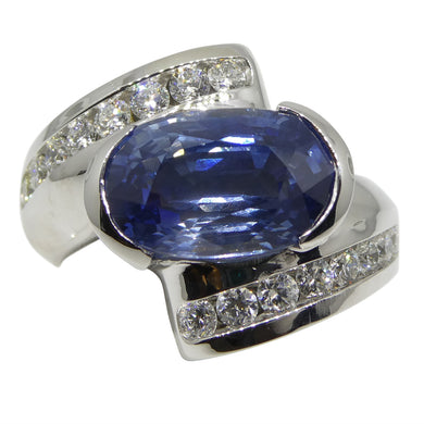 5.39 ct Blue Sapphire & Diamond Ring in 18kt White Gold