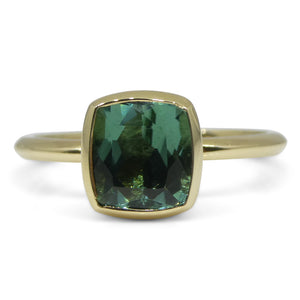 Seafoam/Blue Green Tourmaline Stacker Ring set in 14kt Yellow Gold