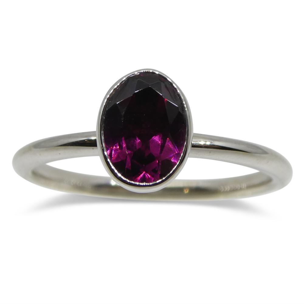 Rhodolite Garnet Stacker Ring set in 14kt White Gold