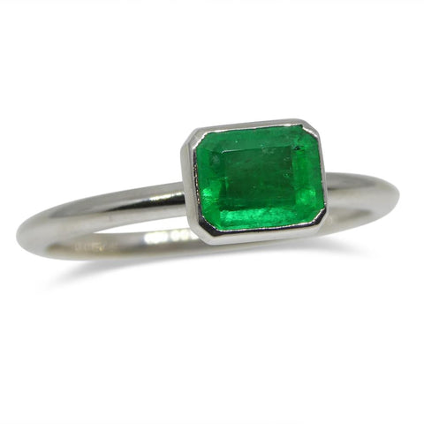 Emerald Stacker Ring set in 14kt White Gold