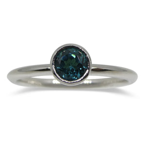 Blue Indicolite Tourmaline Stacker Ring set in 14kt White Gold