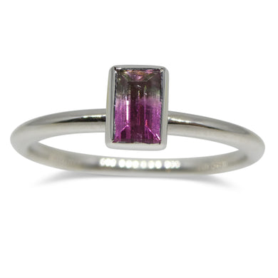 Bi-Colour/ Watermelon Tourmaline Stacker Ring set in 14kt White Gold