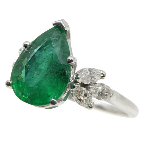2.62ct Emerald & Diamond Ring in 14kt White Gold
