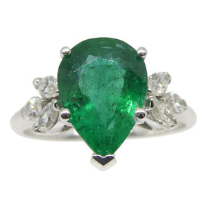2.62ct Emerald & Diamond Ring in 14kt White Gold - Skyjems Wholesale Gemstones