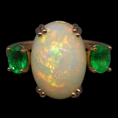 5.48ct Opal & Emerald Ring in 14kt Rose/Pink Gold