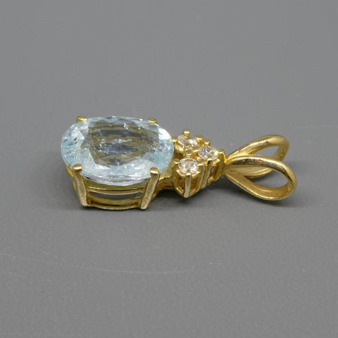 1.87ct Paraiba Tourmaline Pendant set in 14kt Yellow Gold