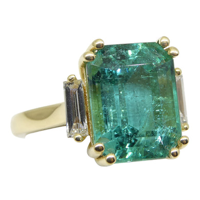 6.32ct Emerald & Diamond Ring in 18kt Yellow Gold - Skyjems Wholesale Gemstones