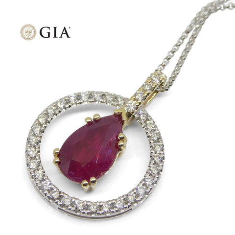 3.04ct Unheated Ruby Diamond Pendant set in 14kt Yellow and White Gold GIA Certified