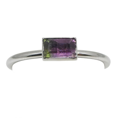 Bi-Colour/ Watermelon Tourmaline Stacker Ring set in 10kt White Gold - Skyjems Wholesale Gemstones