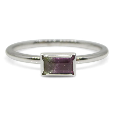 Bi-Colour/ Watermelon Tourmaline Stacker Ring set in 10kt White Gold