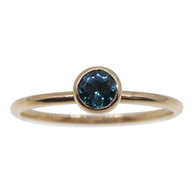 Blue Indicolite Tourmaline Stacker Ring set in 10kt Pink/Rose Gold - Skyjems Wholesale Gemstones