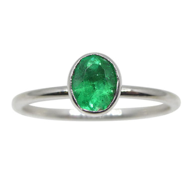 Emerald Stacker Ring set in 10kt White Gold - Skyjems Wholesale Gemstones