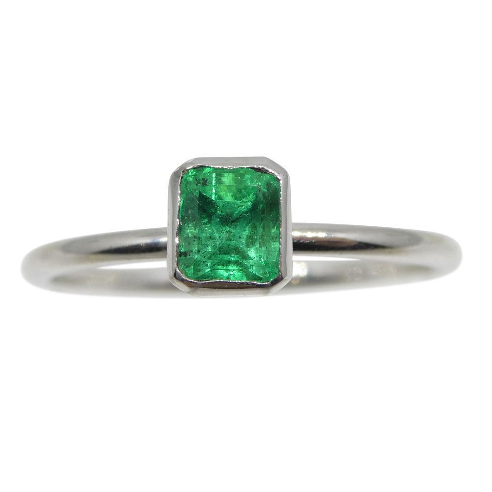 Emerald Stacker Ring set in 10kt White Gold