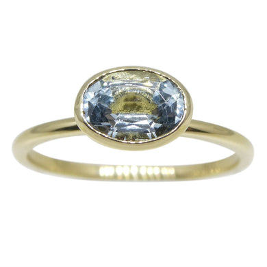 Aquamarine Stacker Ring set in 10kt Yellow Gold - Skyjems Wholesale Gemstones