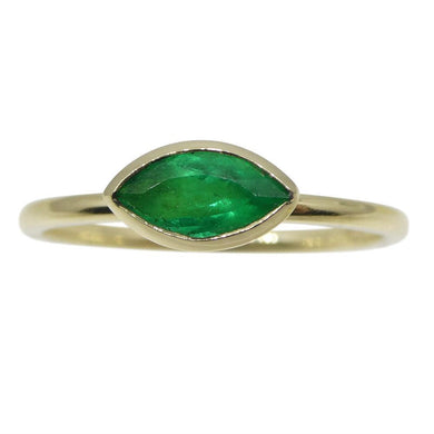 Emerald Stacker Ring set in 10kt Yellow Gold - Skyjems Wholesale Gemstones