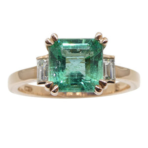 1.50ct Emerald & Diamond Ring in 14kt Rose/Pink Gold - Skyjems Wholesale Gemstones