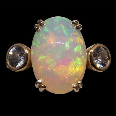 4.88ct Opal & Sapphire Ring in 14kt Rose/Pink Gold - Skyjems Wholesale Gemstones