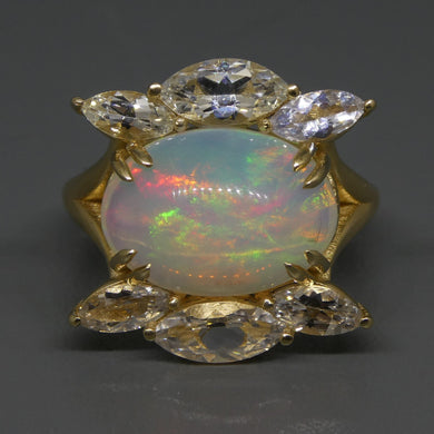 3.78ct Opal & White Sapphire Ring in 14kt Yellow Gold - Skyjems Wholesale Gemstones