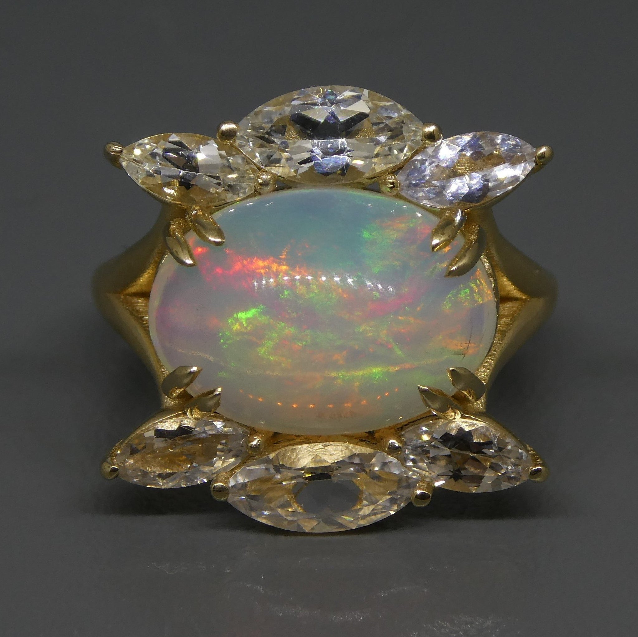 3.78ct Opal & White Sapphire Ring in 14kt Yellow Gold