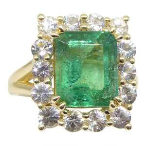 4.00ct Emerald & White Sapphire Ring set in 14kt Yellow Gold - Skyjems Wholesale Gemstones