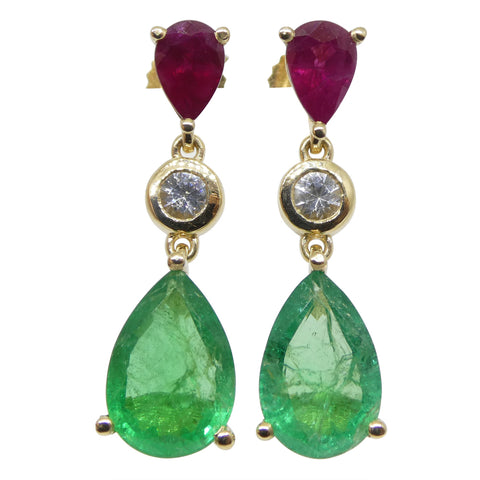 3.33ct Emerald, 1.05ct Ruby and Sapphire Earrings in 14kt Yellow Gold